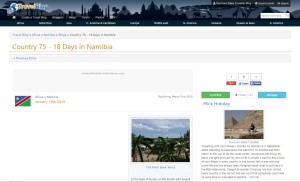 Namibia Travelblog Screen Capture